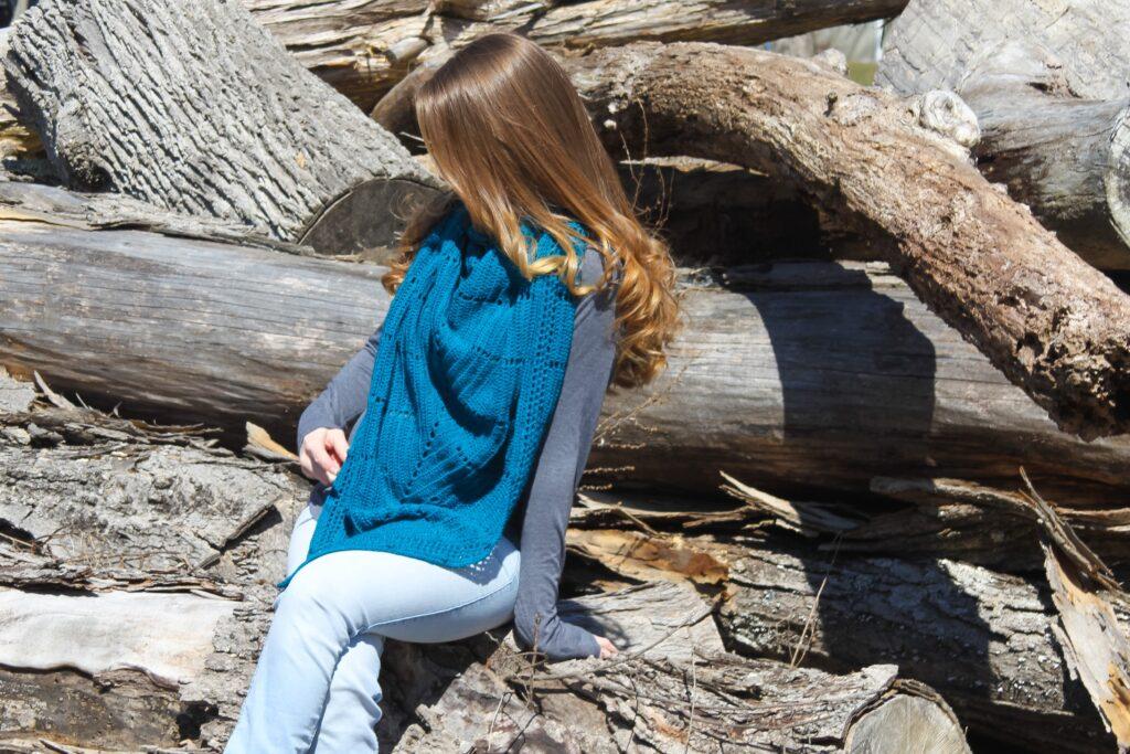 Beautiful crochet triangle scarf.