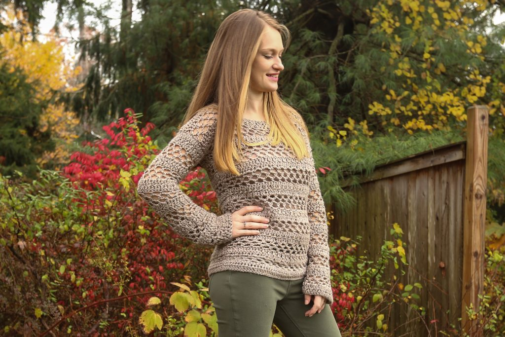 A pullover sweater amde in Lion Brand Heartland Yarn.