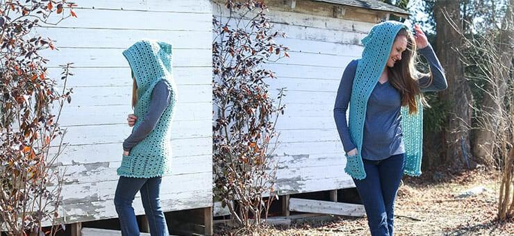 crochet hooded vest