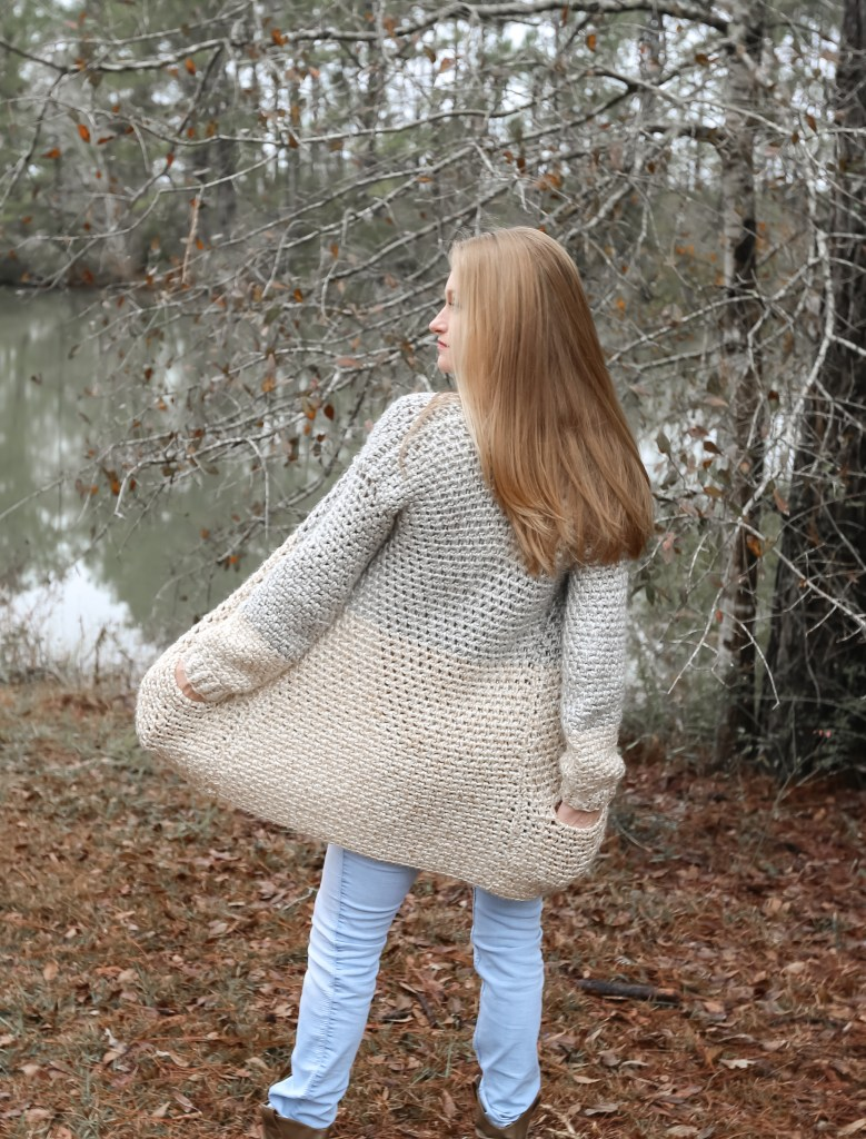Crochet Cardigan with Inset Pockets.
