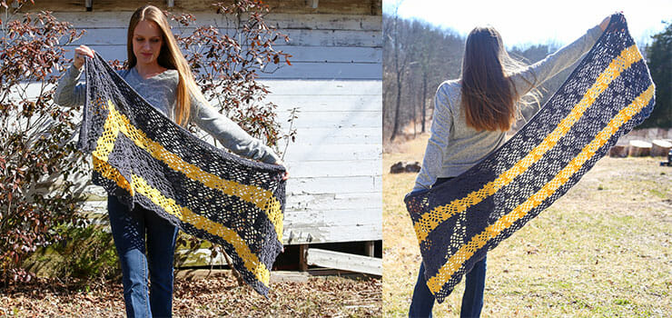 color blocked shawl pattern