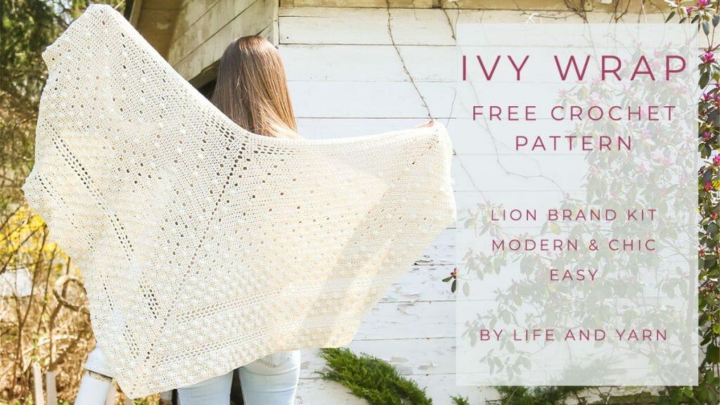 lightweight crochet wrap made with a cotton blend yarn