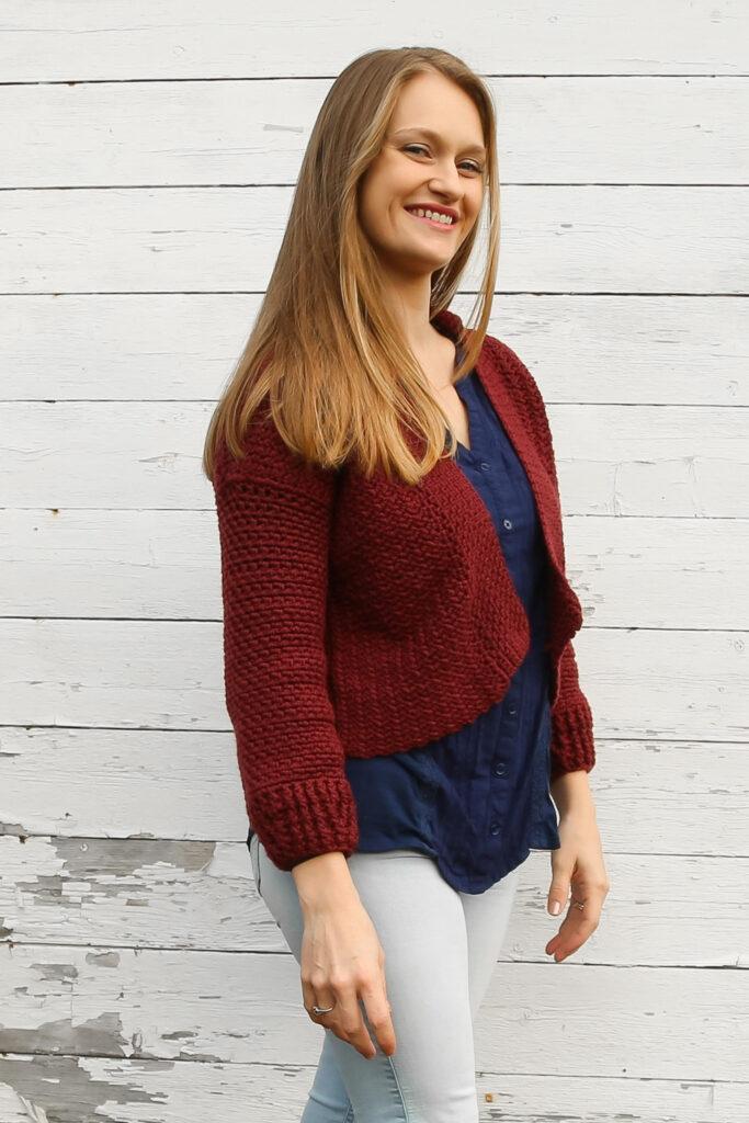Women's cropped cardigan sweater pattern