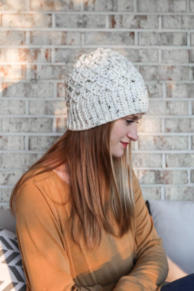 Crochet Diamond Stitch Hat.